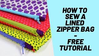How to Sew a Lined Zipper bag - Easy Zipper bag FREE Tutorial - Fast Zipper Pouch, Easy Zipper Purse