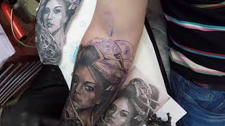Geisha Tattoo Black And Grey Time Lapse
