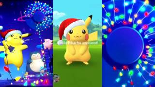 CHRISTMAS PIKACHU! Catching them in Pokemon Go during X-mas event update