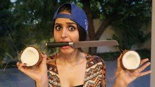 CRAZY GIRL OPENING COCONUT !!!
