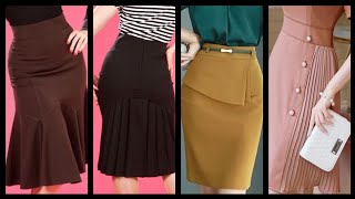 One Month Skirts Outfit Ideas To Try With Short Tops And Blouses For Business Women