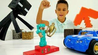 Игры гонки для Стива Майнкрафт и Эндермена! Видео для мальчиков.