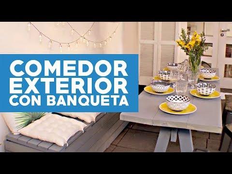 ¿Cómo hacer un comedor exterior con una banqueta baúl?