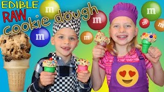 Kid Size Cooking: Cookie Dough Cones - Edible RAW Cookie Dough Recipe!