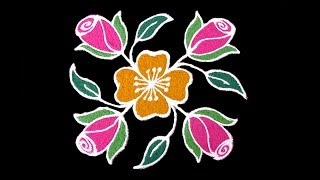 Simple Daily Kolam Designs | 5x5 Dots Rose Flower Rangoli | Small & Easy Daily Rangoli For Beginners