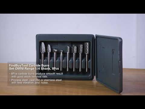 FindBuyTool Carbide Burrs Set Omni Range 1/4 Shank, 8 pcs