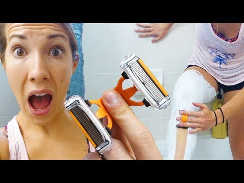 Shaving My Legs With 12 Razor Blades!