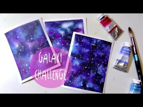 Tutorial Acquerello: come dipingere una GALASSIA su 3 carte diverse * ART Tv by Fantasvale