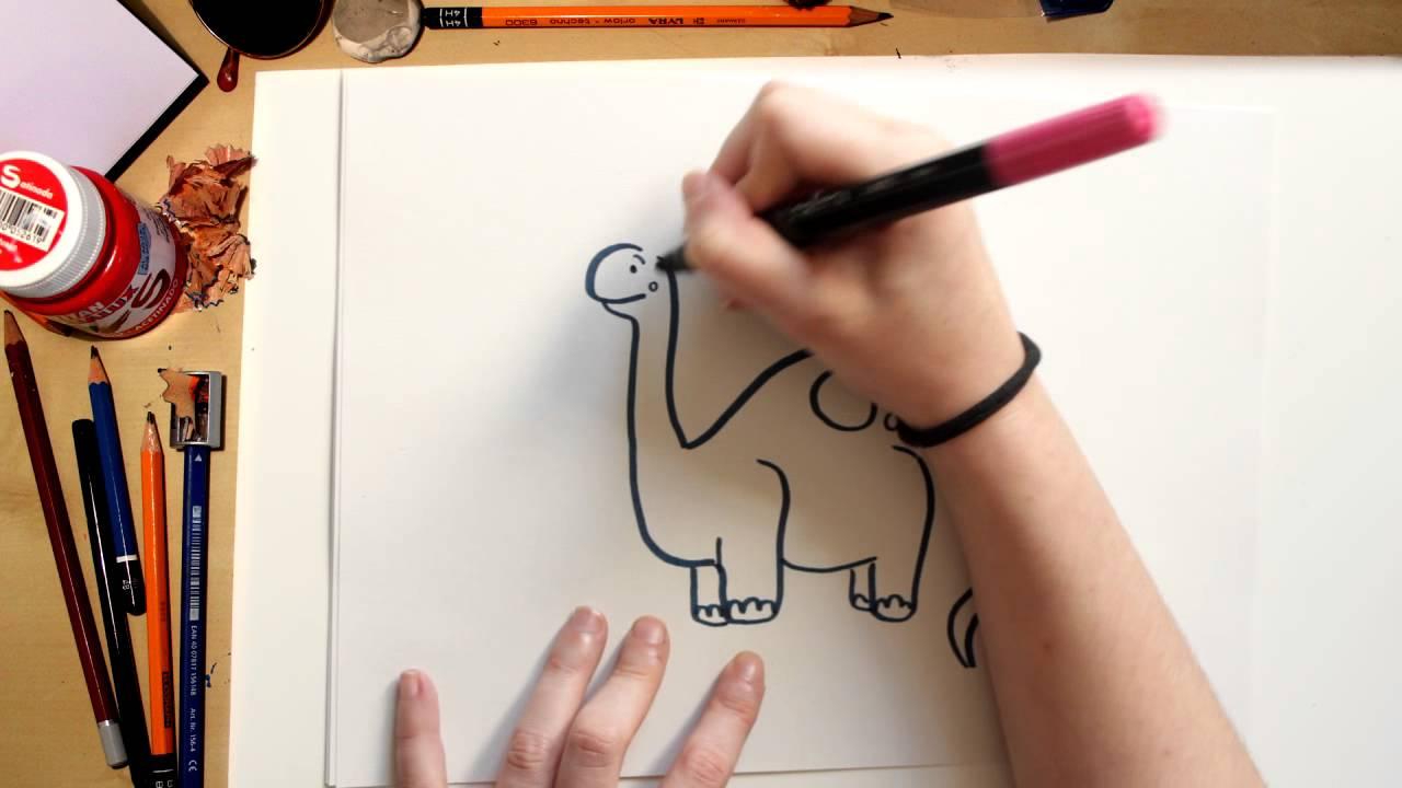 Como desenhar o Braquiossauro - desenhando Dinossauros para crianças