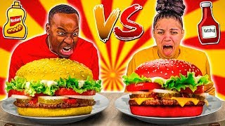 KETCHUP VS MUSTARD FOOD CHALLENGE