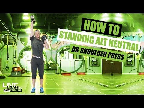 Standing Neutral Grip Alternating Dumbbell Press