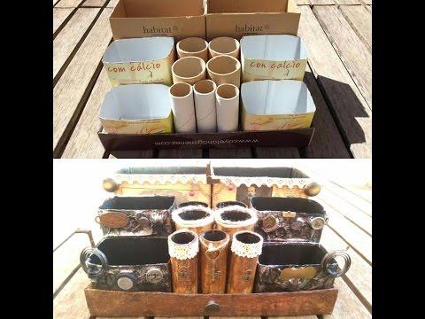 Cómo hacer un organizador de escritorio vintage reciclando