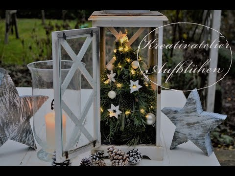 DIY: Echter Mini-Weihnachtsbaum in weißer Holz-Laterne - Weihnachtsdeko für drinnen oder draußen