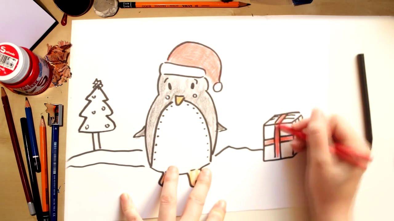 Cómo dibujar un Pengüino - dibujos de Navidad para niños