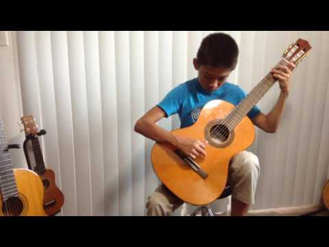 "Remi's guitar student Kian playing ""Etude in Am"" by Fernando Carulli"
