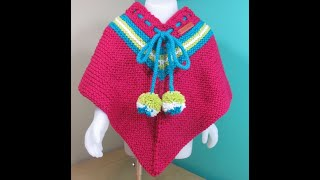How to knit a girls poncho for 2 to 3 years old