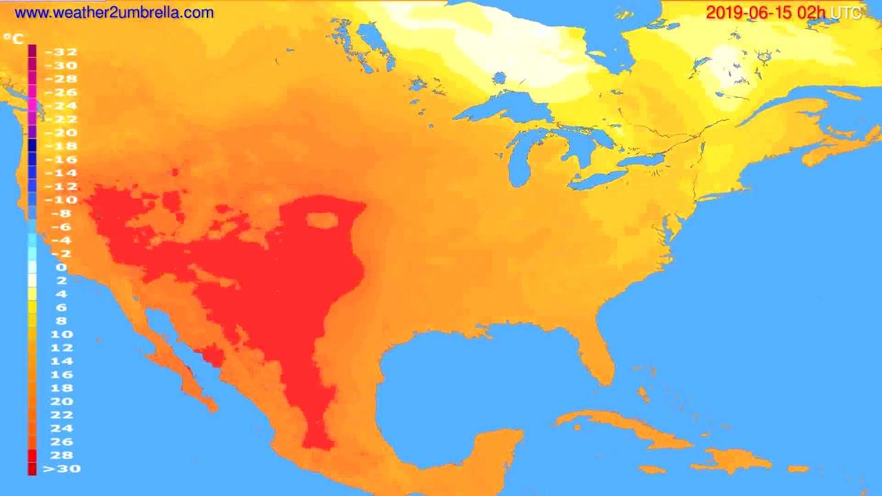 Temperature forecast USA & Canada // modelrun: 00h UTC 2019-06-13