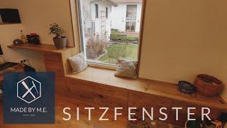 Sitzfenster aus Eiche Massivholz mit Stauraum und gebürsteten Fronten