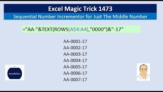 Excel Magic Trick 1473: Sequential Number Incrementor for Just The Middle Number: AA-0009-17