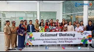 Penyambutan Altet Asian Games Cabor Hand Ball di Bandara Ahmad Yani