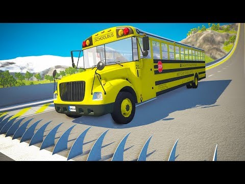 Spikes Embedded In Ramp Against Cars Jumping Crashes #2 - BeamNG.drive