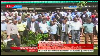 Egerton University lecturers prepare to address the media amid looming strike