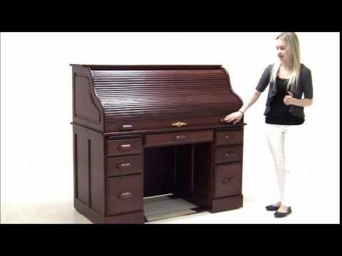 Deluxe Solid Oak Roll Top Desk