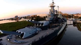 DJI-USSNorthCarolinaBattleship@Sunset-Wilmington,NC-NavyDroneCam
