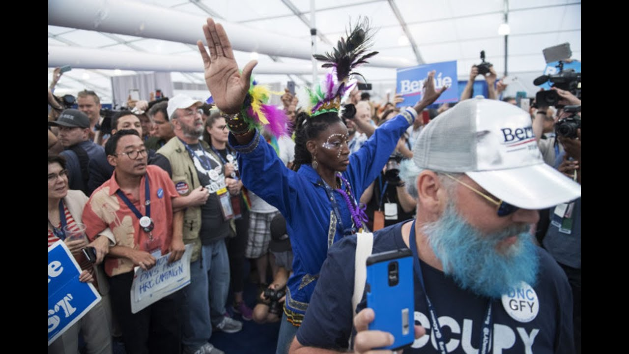 Sanders Delegates Walk Out, And Sit-In Media Tent thumbnail