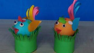 Птички из яиц и цветной бумаги на Пасху.