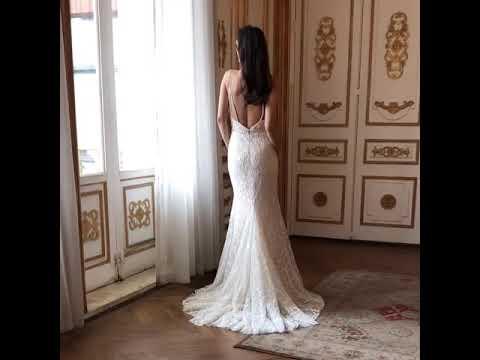 Meerjungfrau Brautkleid Spaghettiträger V Ausschnitt Tiefer Rückenausschnitt Spitze Perlen Strass Gü
