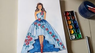 Beautiful Dress Drawing For Girls | Fashion Illustration For Beginners | Watercolor Painting