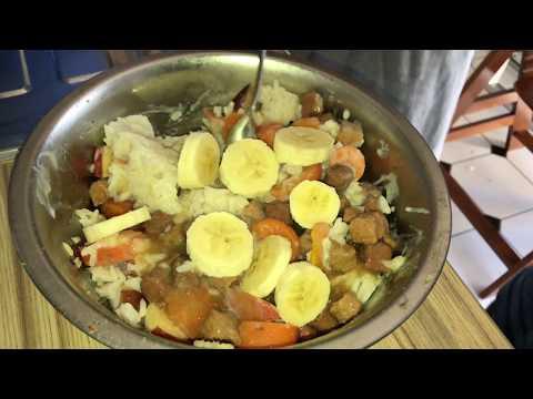 Hunde Kraftfutter selber machen Hundenahrung zubereiten aus Reis, Fleisch, Gemüse und Obst Rezept