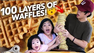 100 LAYERS OF WAFFLES!! (Can We Eat It All?) | Ranz and Niana