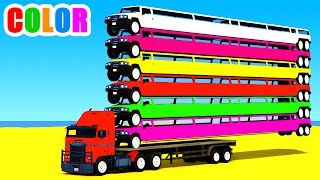 Color Long Cars on Truck in Spiderman Cartoon for Kids and Superheroes 3D Nursery Rhymes