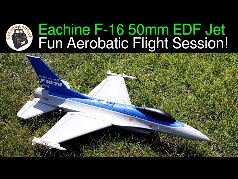 Eachine F16 550mm Wingspan 50mm EDF Jet PNF - Fun Aerobatic Flight Session! I\'m loving this EDF Jet!