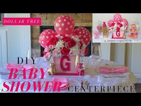 DIY Girl Baby Shower Ideas   Dollar Tree Baby Shower Centerpiece   Baby Shower Candy Buffet Ideas