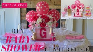 DIY Girl Baby Shower Ideas | Dollar Tree Baby Shower Centerpiece | Baby Shower Candy Buffet Ideas