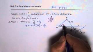 Solve Triangle Radian Measure Trigonometry Special Triangle Q10 P321