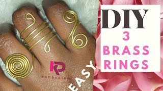 HOW TO:3 DIY BRASS RINGS /WIRE JEWELRY  EASY TUTORIALS/WIRE RINGS .Episode 1