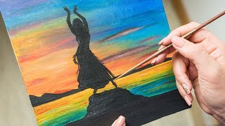 Dancing Girl At Sunset By The Sea - Acrylic Painting / Homemade Illustration (4k)