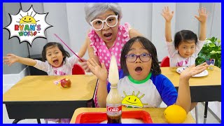 Ryan Pretend Play Going to school at home and learn with his sisters!!