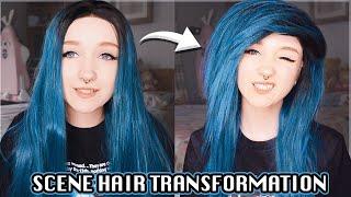 SCENE HAIR TRANSFORMATION + TUTORIAL 💇 CUTTING & STYLING AN EMO WIG ☠️💙🖤 [ft. EvaHair] ✨