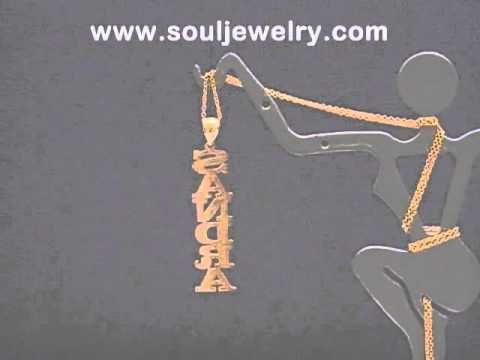 NN_07 Personalized 14k/10k Gold Any Vertical Name Pendant Necklace