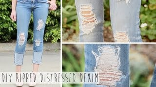 Salvage Your Jeans   DIY Ripped Distressed Denim