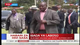 Raila Odinga arrives at the late Joyce Laboso Memorial service
