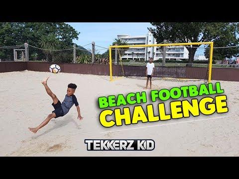 Beach Kids 1v1 Football Forfeit Challenge vs Bro!!
