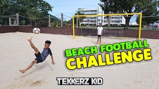 Beach Kids 1v1 Football Forfeit Challenge vs Bro!!