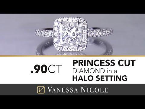 Princess Cut Diamond - Kelly's Princess Cut Halo Engagement Ring   Vanessa Nicole Jewels