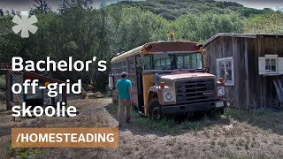 School bus renovated as bachelor's off-grid tiny home